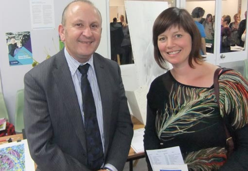 Ian Bourke, Southern Regional Manager and Jacqui Moyes, Arts Access Aotearoa, at the prisoner art auction in Christchurch