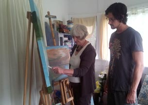 Carol and Aaron Gash prepare work for their art class in Whanganui Prison