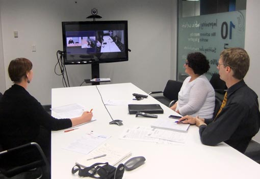 Corrections staff and Arts Access Aotearoa discuss the prison arts plans via an AV link