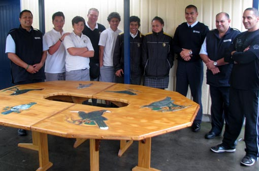 Carved table gifted to Flaxmere College