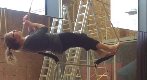 Alisha McLennan at a Wired Aerial Theatre workshop
