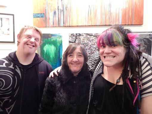 Eryn Gribble with Alpha Art Studio artists Martin Kerschbaumer and Denise Dennehy, finalists in the Atrium Emerging Artists Award