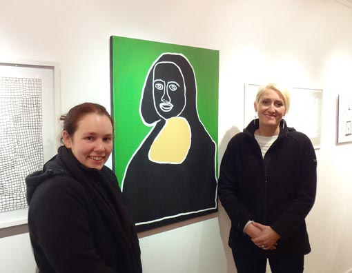 Tiffany Collett and her mother with her Mona Lisa work at the opening of Creative Species 3