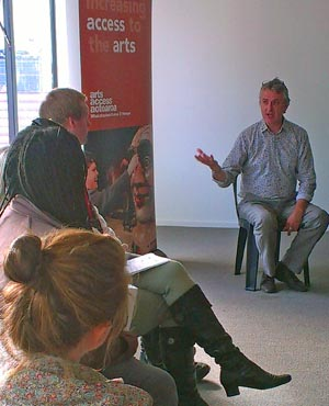 Neil Cox, General Manager, Isaac Theatre Royal, at an Arts For All Christchurch Network meeting