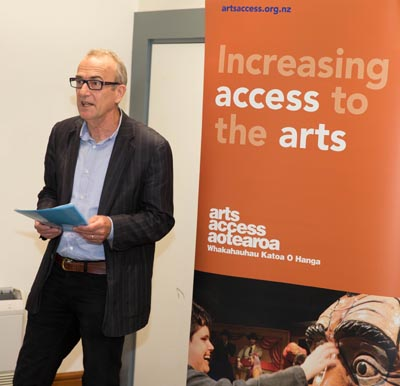 Richard Cunliffe, Chair, Arts Access Aotearoa speaks at the launch of Arts For All