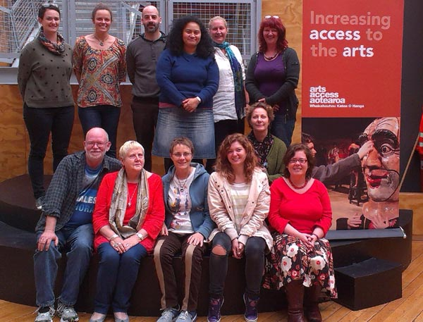 Trainers, audio describers and Claire Noble, Arts Access Aotearoa
