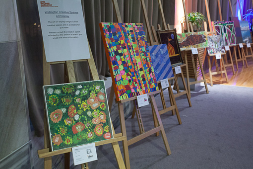 Artwork on display by creative space artists in the Wellington region