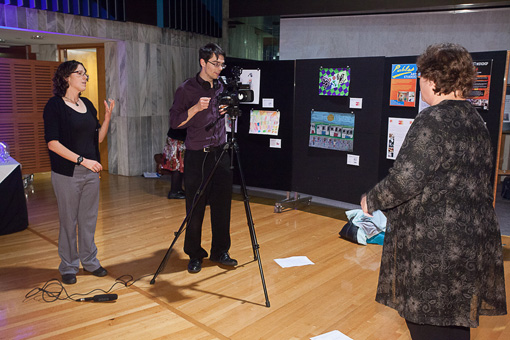 NZSL interpreter Brigid Strid, videographer Jack O'Donnell and Rachel Noble
