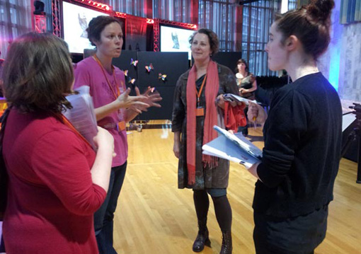 Claire Noble, Arts Access Aotearoa, briefs the audio describers
