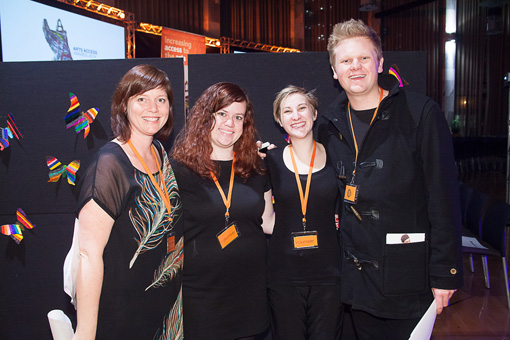 Jacqui Moyes, Arts Access Aotearoa, with volunteers Jessica Ducey, Alice Pardoe and Kelly Kiwha