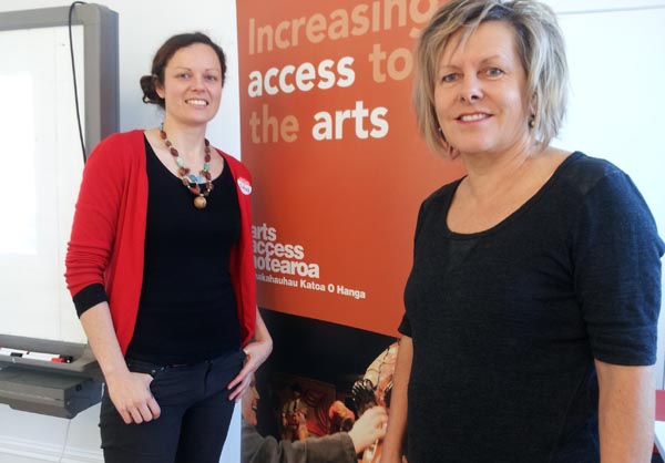 Claire Noble, Community Development Co-ordinator, Arts Access Aotearoa and Aly McNicoll, Director of the New Zealand Coaching and Mentoring Centre