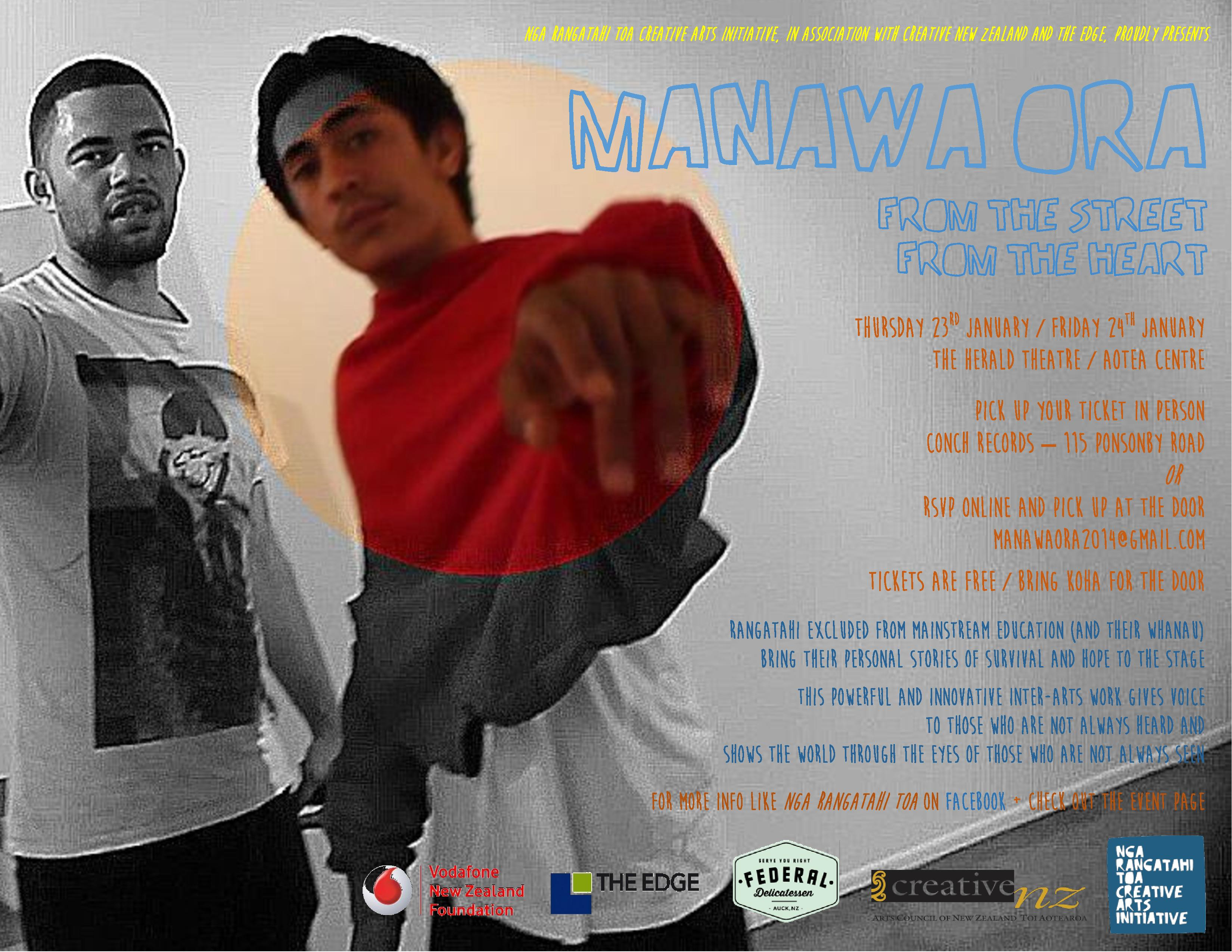 Poster promoting Manawa Ora