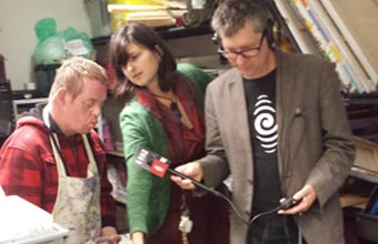 Martin Kerschbaumer and Rohana Weaver of Alpha Gallery and Studio with RNZ's Bryan Crump