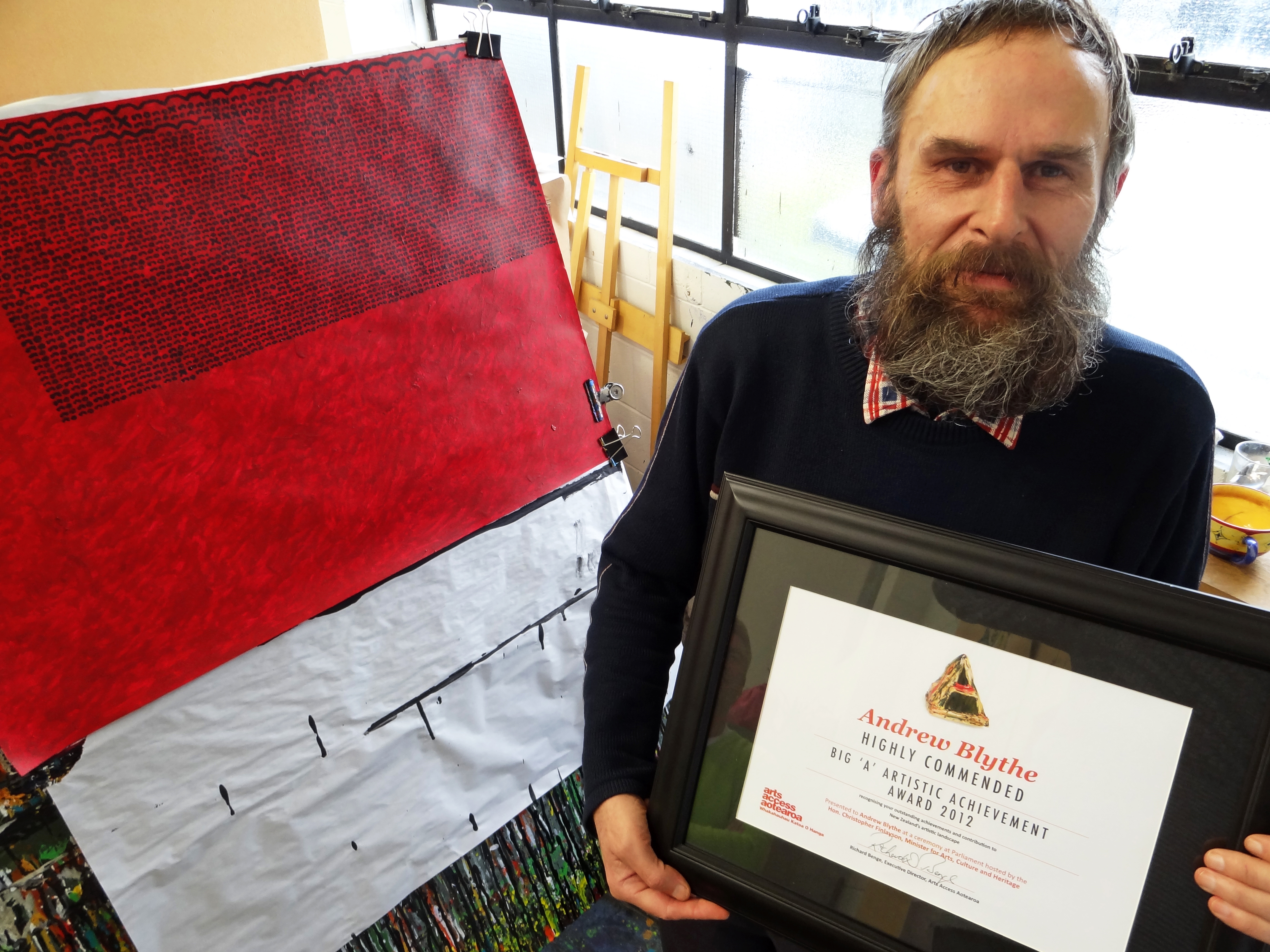 Andrew Blythe with his Highly Commended certificate in the Big 'A' Artistic Achievement Award