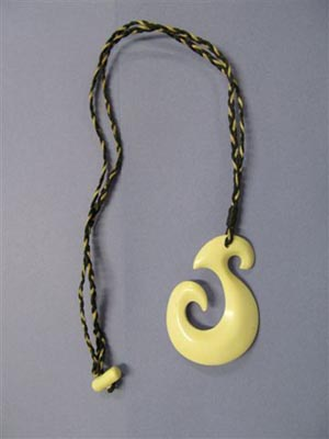 Bone carving necklace created by a prisoner at Christchurch Men's Prison