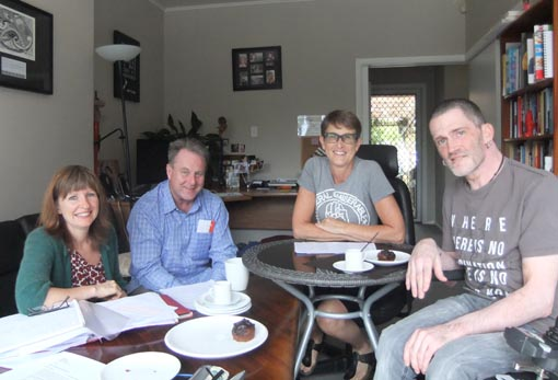 Pippa Sanderson and Richard Benge, Arts Access Aotearoa, with Jan Eagleton and Philip Patston, Diversityworks Trust