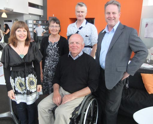Niels Frandsen, wife Lone, Mark from the Film Archive, and Pippa and Richard, Arts Access Aotearoa