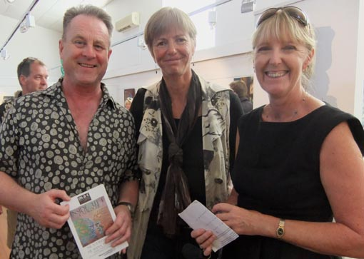 Richard Benge, Karen Webster, Arts Access Aotearoa board member, and Jeanette Burns, Department of Corrections at the 2013 InsideOut exhibition