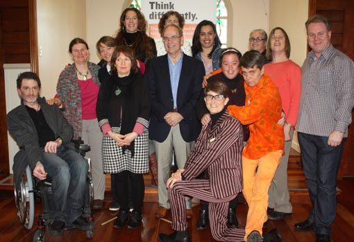 Auckland Mayor Len Brown with participants in the Making A Difference Arts Advocacy Programme