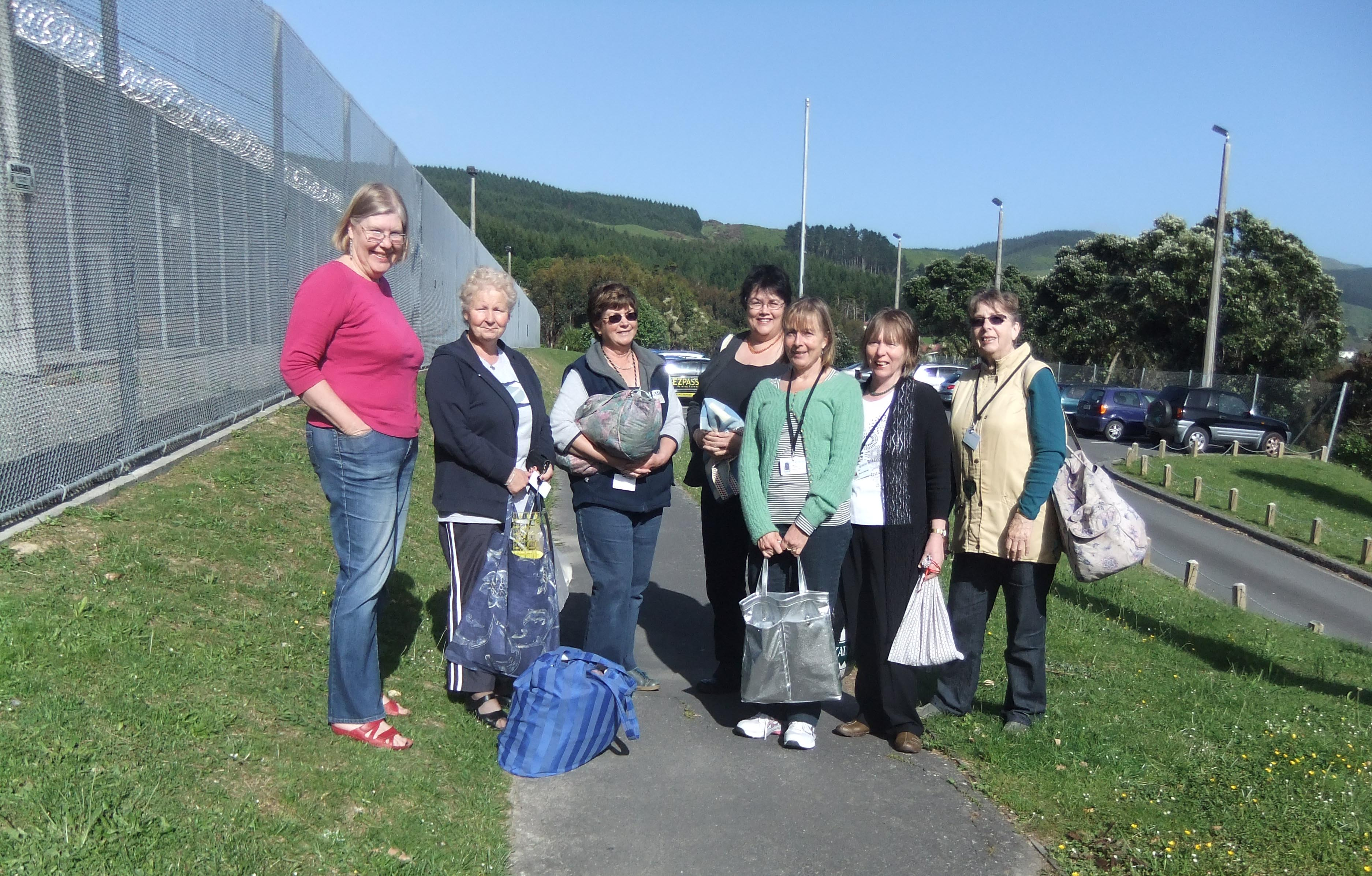 Some of the volunteer quilters outside Arohata Prison