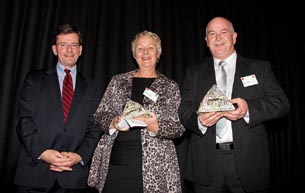 The Hon Christopher Finlayson presented the Big 'A' Community Partnership Award 2011 to Ellie Drummond, Mairangi Arts Centre, and Mark Lynds, Department of Corrections