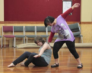 Youth Jolt dancers Hannah Proctor and Janelle Olley in rehearsal