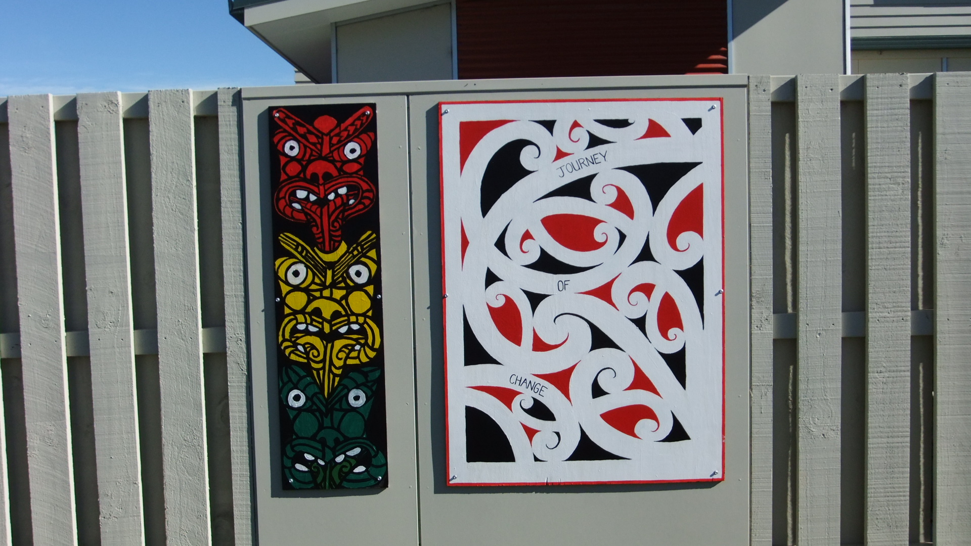 Two of eleven art panels at Matapuna Special Treatment Unit, Christchurch Prison