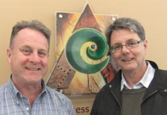 Neal Price (right) with Arts Access Aotearoa executive director Richard Benge.