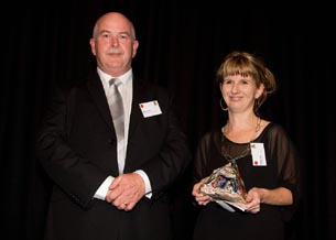 Former recipient Mark Lynds presented the Big 'A' Prison Arts Leadership Award 2011 to Sharon Hall