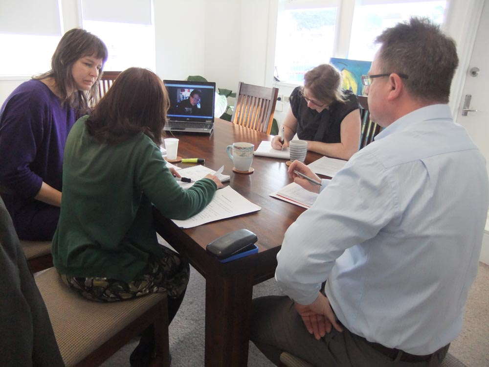 Arts Access Aotearoa staff have a Skype meeting about the arts planning survey with Moana Tipa