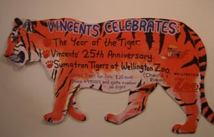 One of Vincents' painted, plywood tigers