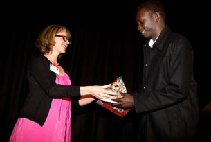 Miranda Harcourt, patron, Arts Access Aotearoa presented the Big 'A' Winton and Margaret Bear Young Artist Award 2011 to Makuei Aken