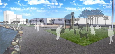 A concept drawing of the Hairy Maclary sculpture on the Tauranga waterfront