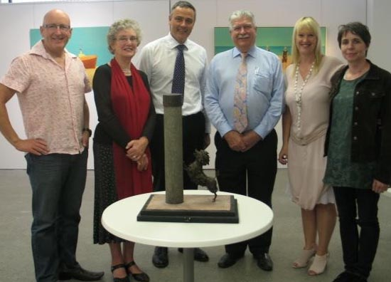 From left: Dave Macfarlane (Creative Tauranga trustee), Dame Lynley Dodd, Marcus Wilkins (Creative Tauranga trustee), Russell Turner (President, Tauranga Rotary Club), Tracey Rudduck-Gudsell and Brigitte Wuest (sculptor)