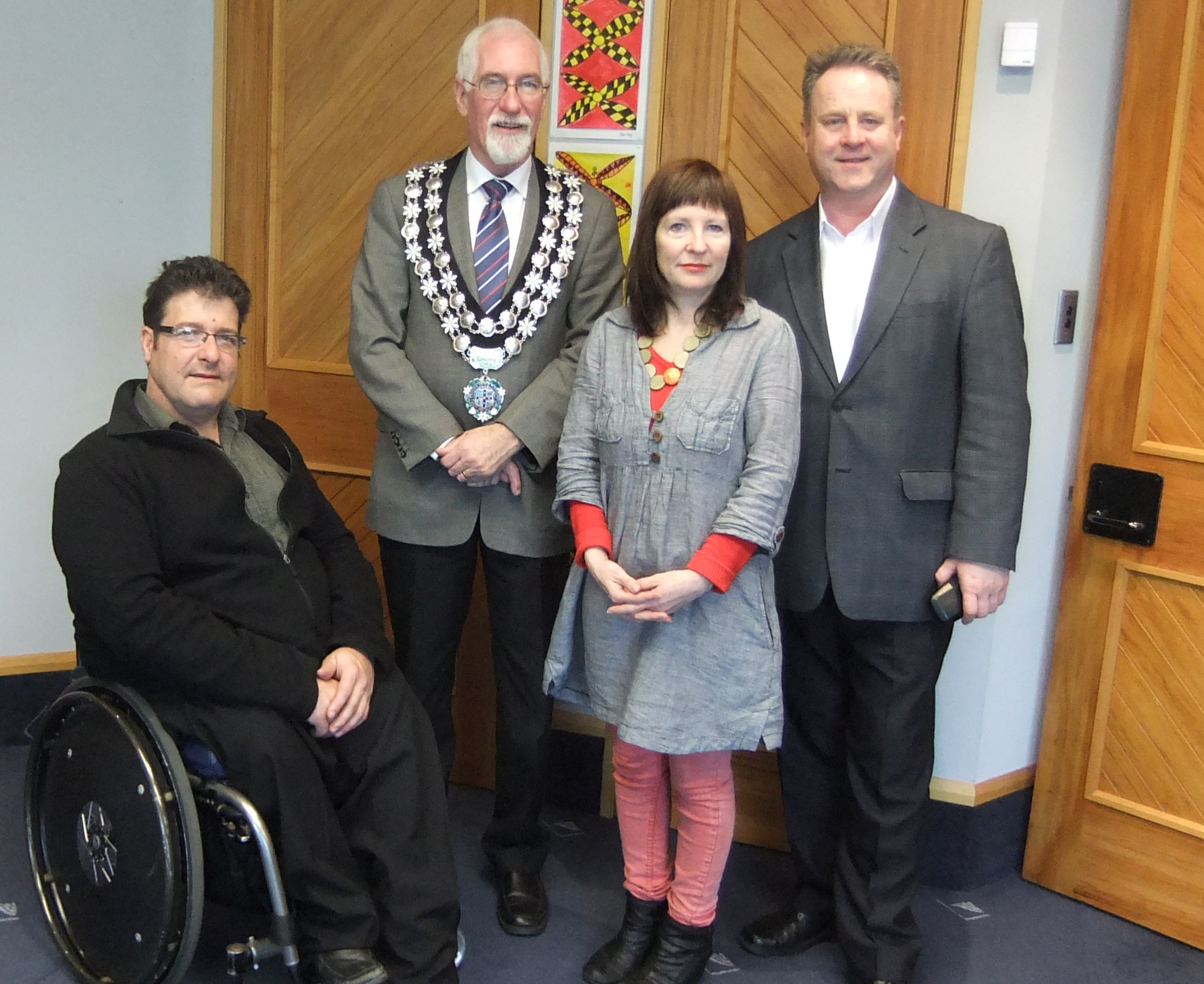 Stew Sexton, Pippa Sanderson and Richard Benge of Arts Access Aotearoa with New Plymouth Mayor Harry Duynhoven