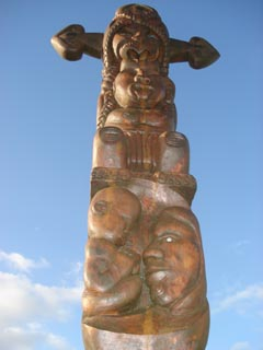 The six-metre high poupou, carved by prisoners at Auckland