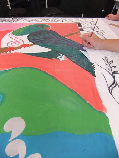 A mural being created at Arohata Women's Prison