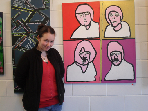 Tiffany Collett with her painting of the Beatles